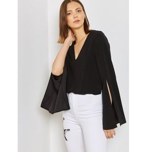 TOPSHOP V-NECK SPLIT SLEEVE TOP OVERSIZED BLOUSE